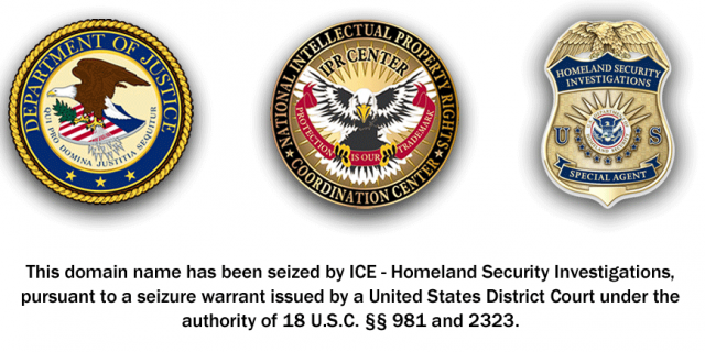 ICE Seizure: The US homeland security puts this page up when they appropriate a domain.